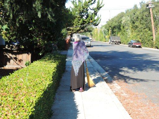Mum sweeping the street